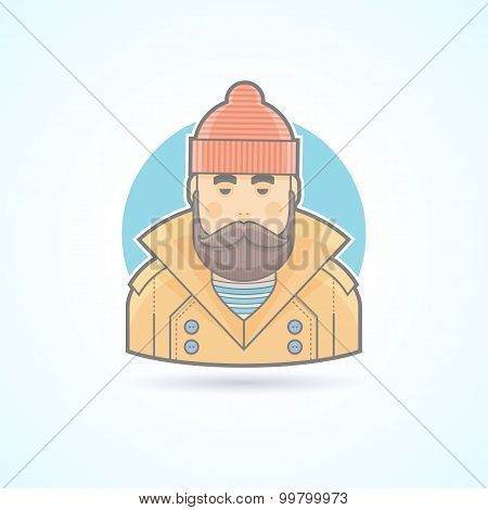 Fisherman, sailor icon. Avatar and person illustration. Flat colored outlined style.