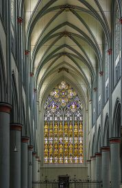picture of dom  - Interior of Altenberger Dom with a view of the huge stained - JPG