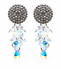 picture of lapis lazuli  - earrings with blue stones on the white background - JPG