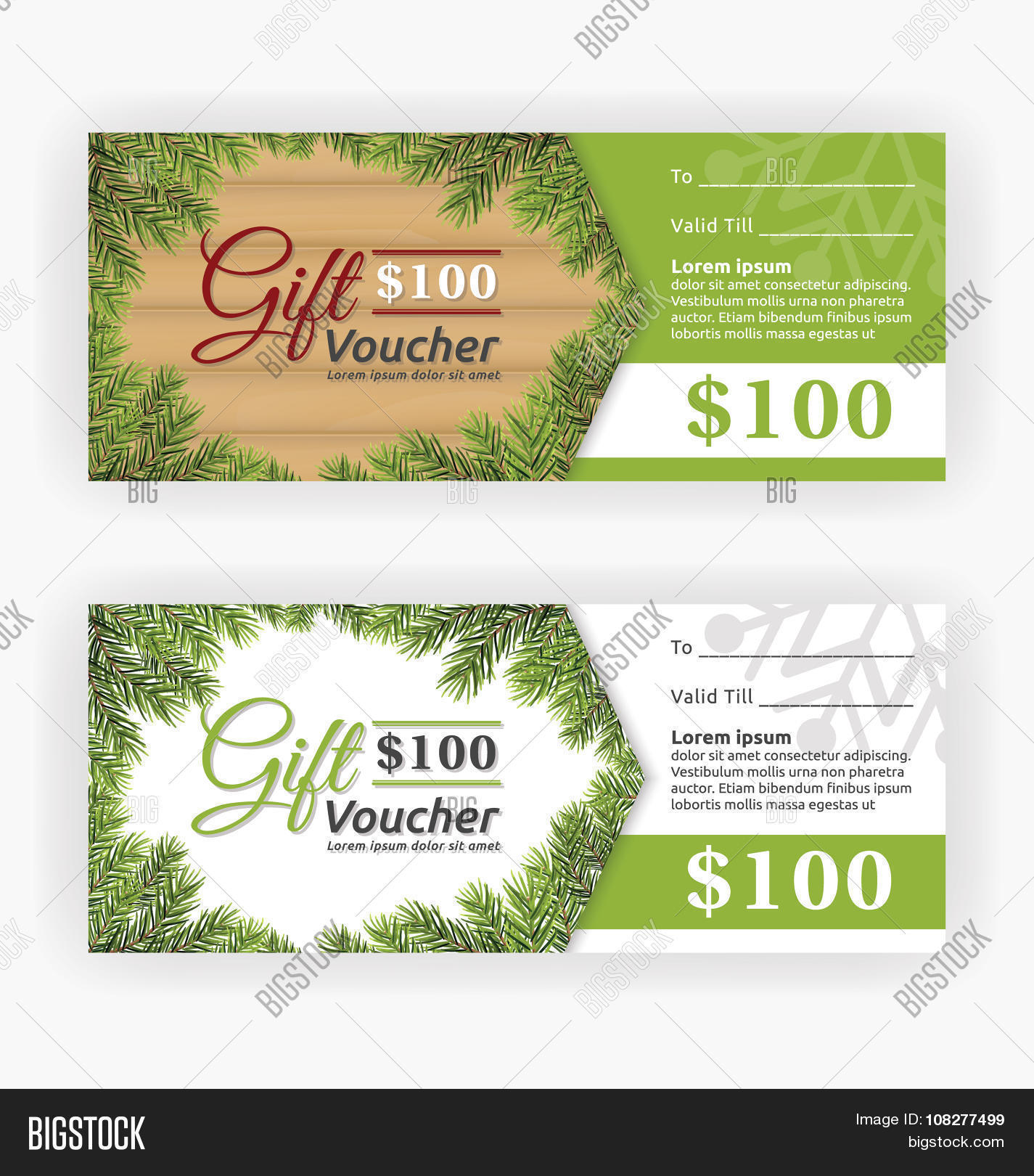 christmas leaves border theme gift voucher template stock vector christmas leaves border theme gift voucher template