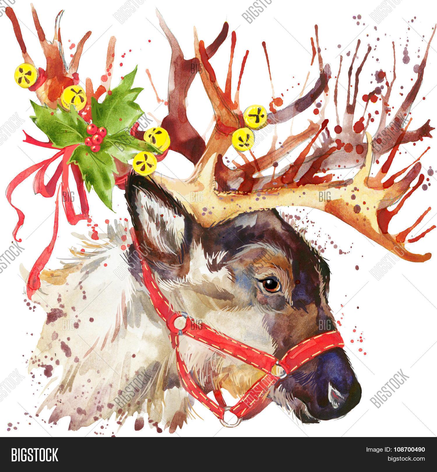 reindeer santa claus reindeer santa clau illustration with splash