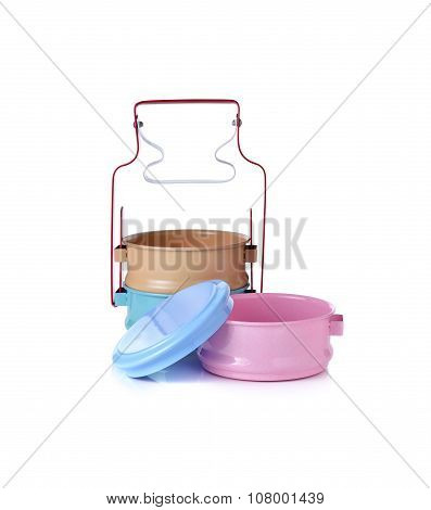 Tin Food Carrier On White Background