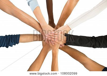 Directly Above Shot Of Creative Business Team Piling Hands
