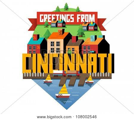 Cincinnati beautiful city to visit. vector cartoon