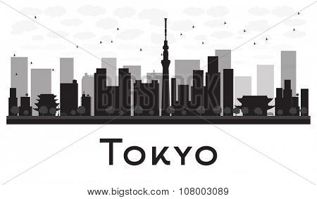 Tokyo City skyline black and white silhouette.Simple flat concept for tourism presentation, banner, placard or web site. Business travel concept. Cityscape with famous landmarks