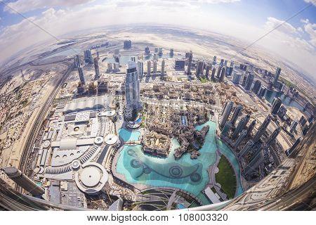 View of downtown Dubai from Burj Khalifa, United Arab Emirates. Picture taken on February 24, 2015