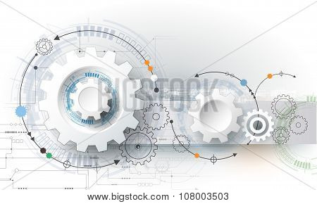 Vector illustration gear wheel hexagons and circuit board
