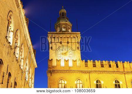 Clock Tower On  Piazza Maggiore In Bologna