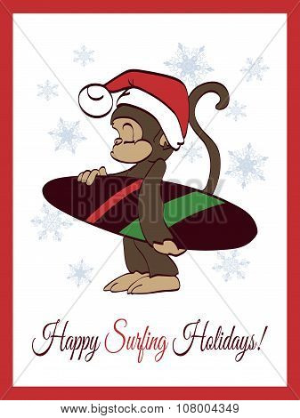 Vector Happy Surfing Holidays Surfer Monkey Greeting Card Design