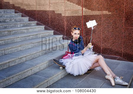 Ballerina Hipster. Selfie On The Street.