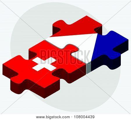 Switzerland And Sint Maarten Flags