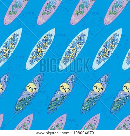 Vector Diagonal Surfboards On Blue Water Seamless Pattern. Exotic, sport, board, Hawaii, wave, seagu