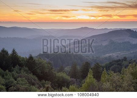 Rolling Hills Sunset of Santa Cruz Mountains and the Pacific Ocean
