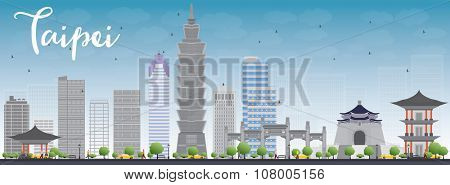 Taipei skyline with grey landmarks and blue sky. Business travel and tourism concept with modern buildings. Image for presentation, banner, placard and web site.
