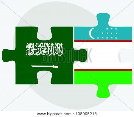 Saudi Arabia And Uzbekistan Flags