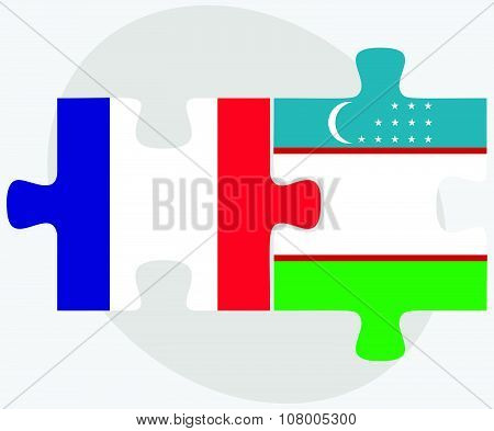 France And Uzbekistan Flags