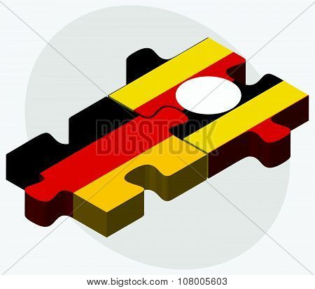 Germany And Uganda Flags