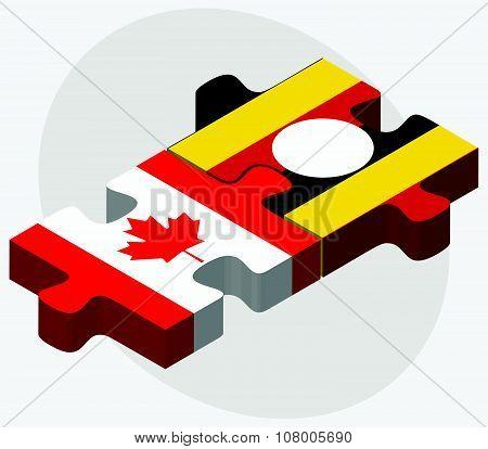 Canada And Uganda Flags