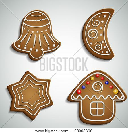 Ginger bread bell half moon and house