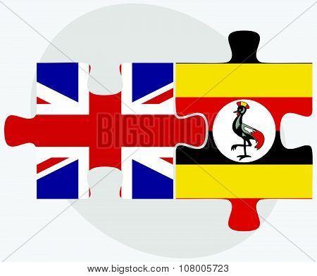 United Kingdom And Uganda Flags