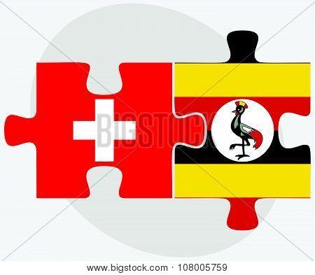 Switzerland And Uganda Flags
