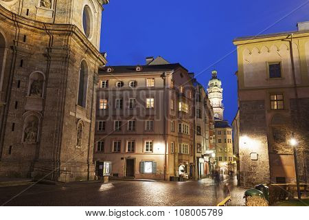 St. Jacob's Cathedral And Streets In Innsbruck