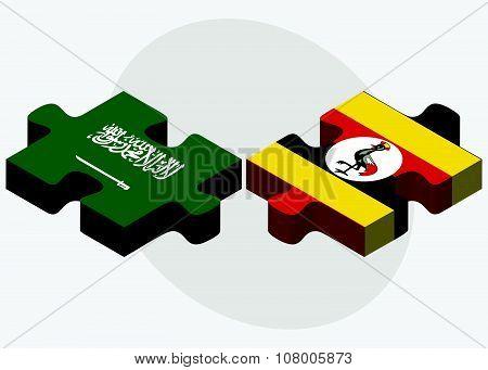 Saudi Arabia And Uganda Flags