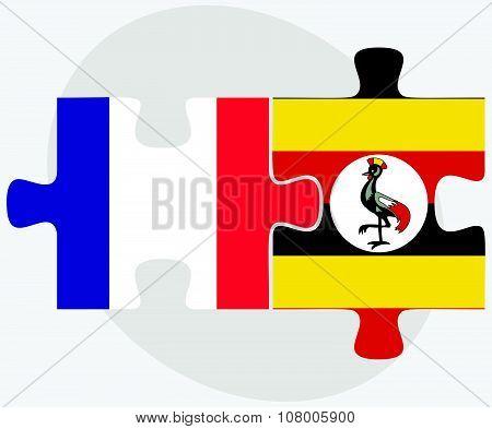 France And Uganda Flags