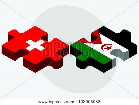 Switzerland And Western Sahara Flags