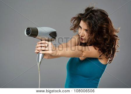 Woman With Hairdryer, Studio Shot