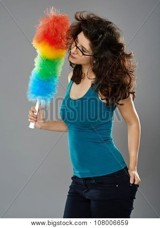 Woman With Duster, Studio Shot