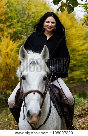 Woman Riding A Horse In The Forest