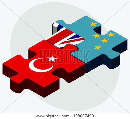 Turkey And Tuvalu Flags