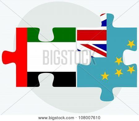 United Arab Emirates And Tuvalu Flags