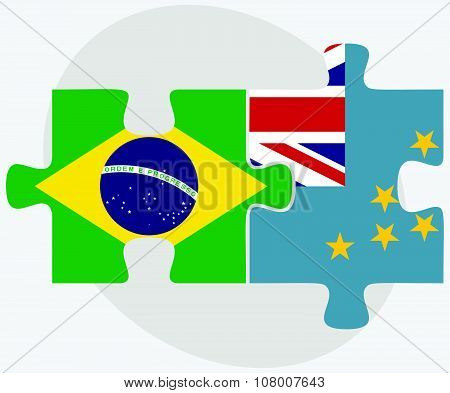 Brazil And Tuvalu Flags