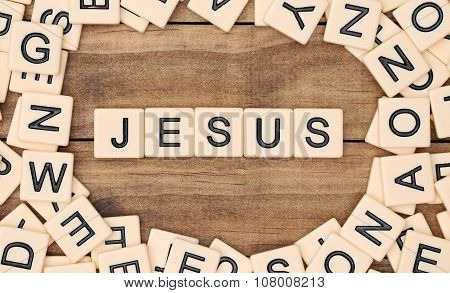 Jesus Spelled Out In Tan Tile Letters
