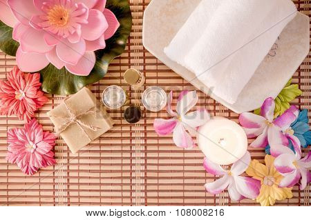 Spa Treatment, Rose Aroma Oil And Soap Bar. Top View