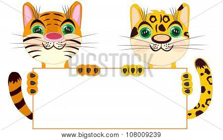 Tiger And Leopard With Clean Sheet Of Paper