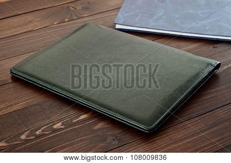 Green Business Leather Folder Closeup