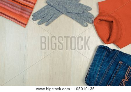 Vintage Photo, Womanly Clothes On Wooden Background, Copy Space For Text, Clothing For Autumn Or Win
