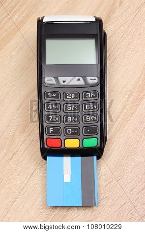 Payment Terminal With Credit Card On Desk, Finance Concept