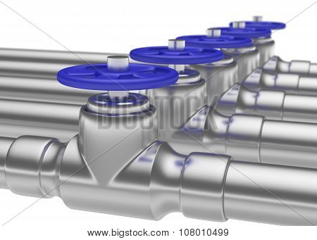 Steel Pipes Series With Blue Valves And Small Dof