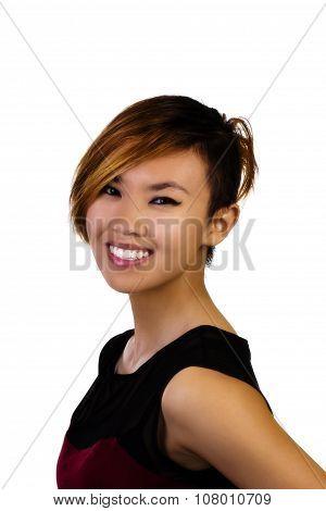Smiling Attractive Asian American Woman Portrait Dress