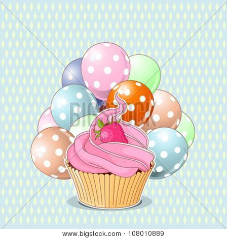 Illustration of sweet cupcake, strawberry and balloons