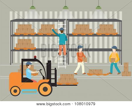 Workers Of Warehouse Load Boxes.