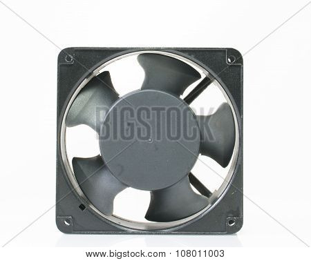 Small Cooling Fan And Blades For Computer With 3 Pin Cable On White Background
