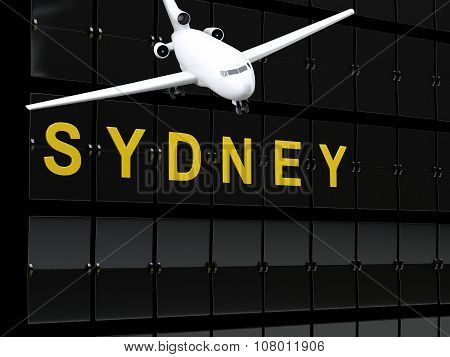 3D Australia Airport Departures. Travel To Sydney