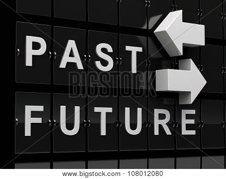 3D Airport Board With Past And Future Words.