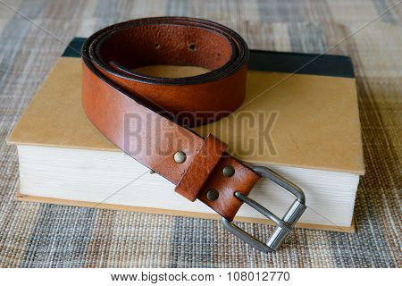 Brown Leather Belt In Roll