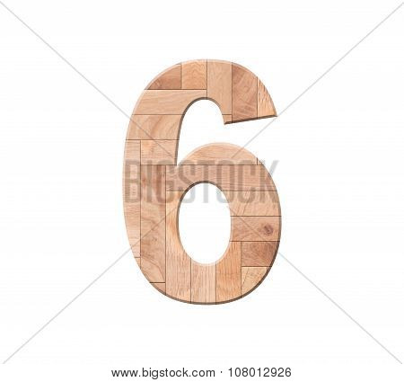 Wooden Parquet Of Digit One Symbol - 6. Isolated On White Background